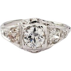 The open work, ring, is set with 1 European cut diamond, that weighs approximately Estate Engagement Ring, Vintage Engagement Rings, Diamond Engagement Rings, European Cut Diamonds, White Gold Diamonds, Antique Jewelry, Vintage Jewelry, 3 Stone Rings, Art Deco Period