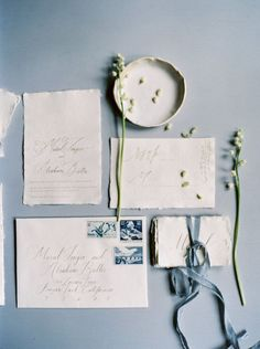 pale blue romantic wedding invitation suite with calligraphy
