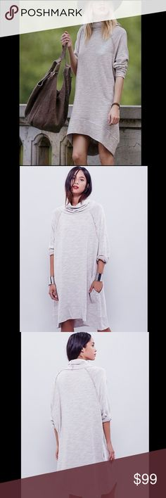 FREE PEOPLE cowl neck tunic dress oversize free style cream knit dress with cowl neckline, reversed seams, pockets, 3/4 sleeves and easy comfortable fit. Wear it as a dress, tunic or long sweater. 092146   Retail: $88 Size: M/L (medium and large listed for size comparison)   ❤I have over 300 new with tag Free People & More items for sale! I love to offer bundle discounts!  ❤No trades. I no longer discuss pricing in comments. Please use offer button to submit offer! 😊 Free People Tops Tunics