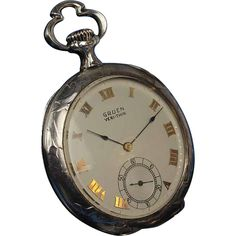 "Rare Sterling Gruen ""Verithin"", 21 Jewel Chronograph Pocket Watch, Case by Huguenin Brothers"