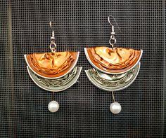 orecchini realizzati con cialde nespresso di Stequadro su Etsy