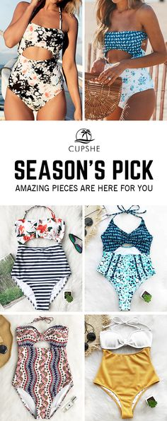 Cupshe Season's Pick. Try this natural style, featuring chic halter & cutout design, providing better support with back hook closure or tie design. You gonna love these pretty swimsuits! Enjoy your beach holiday with beauty and comfort.