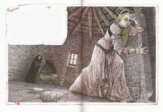 Roberto Innocenti - Illustration for 'Sleeping Beauty' Comic Pictures, Fairytale Art, Children's Book Illustration, Book Illustrations, Drawing, Faeries, Illustrators, Fairy Tales, Sleeping Beauty