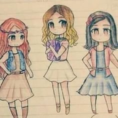 Camilla à gauche, Violetta au milieu, Francesca à droite #dessinManga