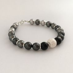 Shades of grey bracelet, Swarovski pearl bracelet with black agate and sparkly silver, gift for her, mum, wife, sister, aunt, 50 shades