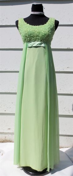 Vintage 1960's Light Green Chiffon Prom Dress by delilahsdeluxe, $68.50 ~ Look Joan! This is close to the pattern for our 1967 prom dress!! I still have mine.