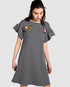 Vestido de mujer Fórmula Joven de cuadros vichy con parches