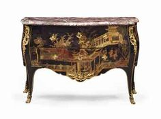 A LOUIS XV ORMOLU-MOUNTED CHINESE BLACK, GILT AND POLYCHROME LACQUER COMMODE