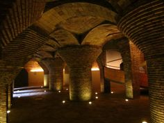 The stables of El Palau Güell, characterised by pillars with mushrooms-shaped capitals.