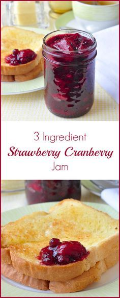 Easy Strawberry Cranberry Jam - a super simple and very easy recipe for a delicious jam without pectin, using equal parts strawberries, cranberries & sugar.