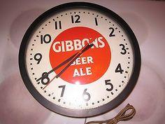 vintage Gibbons beer ale beer clock advertising