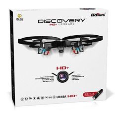UDI 818A HD RC Quadcopter Drone with HD Camera and Headless Mode - 2.4GHz 4 CH 6 Axis Gyro RTF - Includes BONUS BATTERY  POWER BANK Quadruples Flying Time