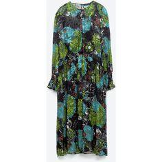 FLORAL MIDI DEVORÉ DRESS - DRESSES-WOMAN | ZARA United Kingdom ($110) ❤ liked on Polyvore featuring dresses, zara, floral printed dress, flower pattern dress, flower design dresses, floral dresses and botanical dress