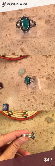 Vintage Navajo Turquoise & Sterling Ring Size 5.5 Authentic vintage Navajo Sterling Silver & Turquoise ring size 5.5. This ring is in excellent vintage condition. The ring is right at 5/8 of an inch long and 3/8 of an inch wide.   Thank you for looking, please contact me with any questions. Jewelry Rings