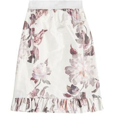 BROCK COLLECTION Printed Skirt (20.875 CZK) ❤ liked on Polyvore featuring skirts, florals, white silk skirt, white floral skirt, flouncy skirt, ruffle skirt and silk skirt