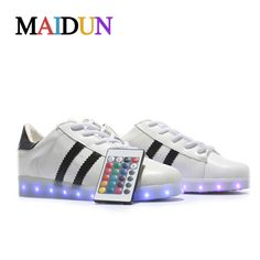 Remote Led shoes Fashion Light Up Casual Shoes 8 Colors Outdoor Glowing Men black white led shoe luminous shoes plus size 35-46