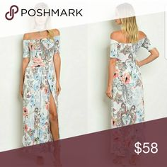 SEXY FLORAL MAXI Off shoulder maxi , MUlti colored  maxi dress slit on bith sides. Dresses