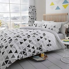 Geo Triangle Duvet Set Bedding And Curtain Sets, Duvet Sets, Duvet Cover Sets, Grey Bedding, Linen Bedding, Luxury Bedding, Bed Linens, Grey Bedroom Decor, Window Bed