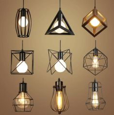 Retro interior lighting Vintage pendant light LED lights 24 types iron cage lampshade - All For Decoration Diy Pendant Light, Vintage Pendant Lighting, Vintage Chandelier, Pendant Lamps, Pendant Lights, Industrial Led Lighting, Ceiling Pendant, Diy Light Fixtures, Vintage Light Fixtures
