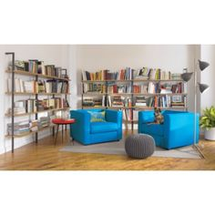 wall-mounted bookshelves for the office area
