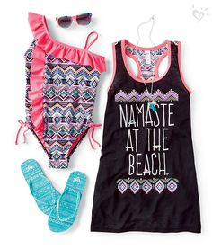 Make waves in prints and ruffles. justice everyday faves in Little Girl Outfits, Cute Summer Outfits, Kids Outfits, Cute Outfits, Girly Outfits, Tween Fashion, Fashion Outfits, Justice Clothing, Justice Outfits