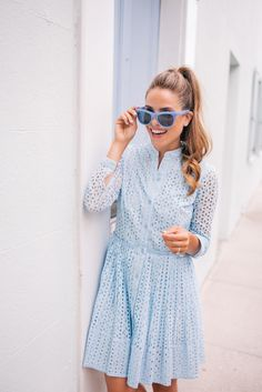 "On My Nails: essie nail polish in ""blue-la-la"" c/o (and wearing this blue dress with these blue sunglasses & this blue lace top/skirt)   Oh the summertime blues! There's so much inspiration found in ..."