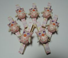 owls on clothes pins--polymer clay owls?  drb