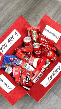 Care Package – EASY DIY Care Package Ideas – Homemade Gift Box Presents – Boyfriend – Girlfriend- Best Friends – Creative – How To Make RED-iculously Gift Box Tutorial – presents for boyfriend Creative Gifts For Boyfriend, Cute Gifts For Friends, Cute Boyfriend Gifts, Presents For Best Friends, Presents For Boyfriend, Boyfriend Girlfriend, Diy Presents, Sister Gifts, Care Package Boyfriend