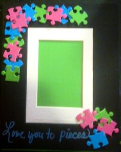 a photo frame with altered puzzle pieces