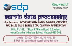 Welcome to Sarvin Data Processing: Tally