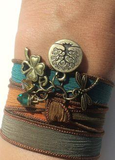Bohemian Silk Wrap Bracelet Yoga Jewelry Dragonfly Tree of Life Good Luck
