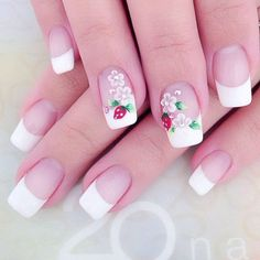 White Nail Art Ideas If you think French tips are too mature, you can make it a little bit youthful witha beautiful floral design.If you think French tips are too mature, you can make it a little bit youthful witha beautiful floral design. White Nail Art, White Nails, Pink Nails, Nude Nails, Tape Nail Designs, Simple Nail Art Designs, French Tip Nail Art, Gel Nails French, French Pedicure
