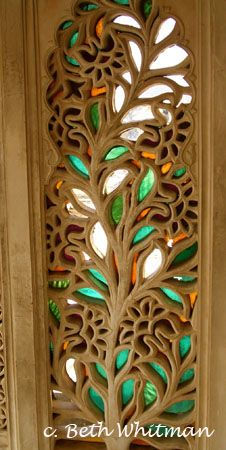 carved stained glass window.