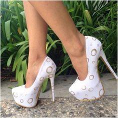 White Metallic Circle Pump Heels Fabric $44.99