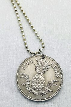 Coin Necklace - Bahamas PINEAPPLE necklace - Carmen Miranda - fruit necklace - island fruit - coin jewelry - tropical fruit - fruit jewelry by FindsAndFarthings on Etsy