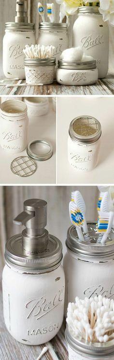 projet de bricolage récup pour la salle de bains, idée de rangement très pratique