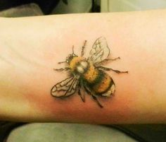 bumble bee tattoo, realistic bee, white tailed bee, coloured tattoo, nature tattoo, secret ink, truro, cornwall, best tattooist, bug tattoos,