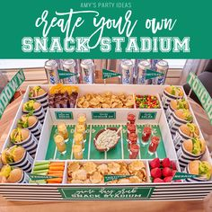 Want to surprise your guests with the ultimate snack stadium for the Big Game? I've got an easy tutorial for you to make your own snack stadium that is sure to wow your guests! Diy Snacks, Game Day Snacks, Snacks Für Party, Game Day Food, Football Party Foods, Football Food, Free Football, Football Parties, College Football