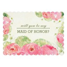 Will you be my Maid of Honor?  Romantic Pink Rose Watercolor Painting Design Personalized Maid of Honor to be request Invitation Cards. Customize the name, date , text and all details of your Invitations. Matching Wedding Party Invitations, Bridal Shower Invitations, Save the Date Cards, Wedding Postage Stamps, Bridesmaid to be Request Cards, Thank You Cards and other Wedding Stationery and Wedding Favors and Gifts available in the Traditional Design Category of the yourweddingday store at…