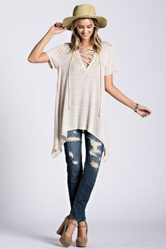 This Lace Up Top is so on trend this season! Lace up necklines like this 84bcc2f91
