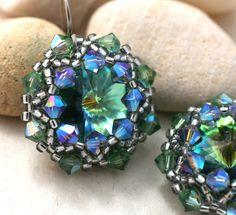 Light Green Crystal Wrapped Rivoli Earrings