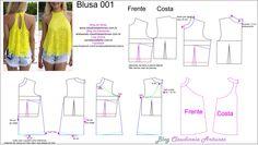 Blusinha em renda  Aula de modelagem e corte e costura no blog Claudineia Antunes http://claudineiaantunes.com.br/category/blog/