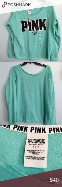 NWT VS PINK Sweatshirt size Large New With Tags Victoria Secret Pink  Sweatshirt with boat neck size large , long sleeves color green, fabric is 60% cotton and 40% polyester PINK Victoria's Secret Tops Sweatshirts & Hoodies