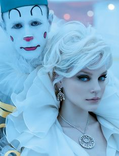 Why they have a clown, have no idea. HATE CLOWNS But I love her hair and makeup