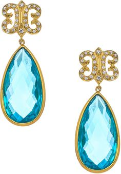 KiraKira Teal Topaz  White Sapphire Arabesque Earrings