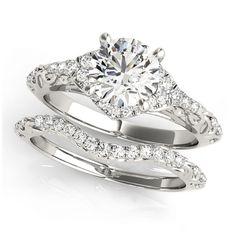Transcendent Brilliance 14k Gold 1ct TDW Diamond Vintage Style Antique Diamond Bridal Set (G-H, VS1-VS2) (White - Size 6.5), Women's, Pink