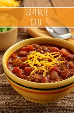 Our 30-Minute Chili is the perfect weekend meal. This hearty chili is made with ground meat, beans and two kinds of tomatoes that offer the perfect blend of flavor and spice.