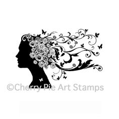Flourishes head Spring spirit CLING RuBBer by cherrypieartstamps
