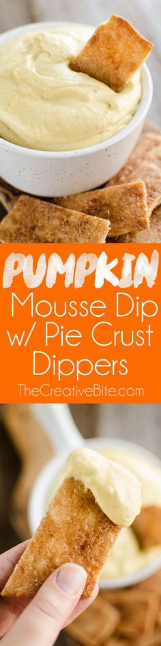 Pumpkin Mousse Dip with Pie Crust Dippers takes all the great flavors of sweet pumpkin pie and turns them into an easy finger food snack or appetizer perfect for your next holiday party!