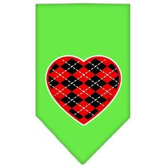 Argyle Heart Red Screen Print Bandana Lime Green Small